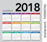 calendar 2018. week starts from ...   Shutterstock .eps vector #705000706