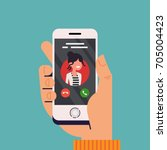 incoming call concept vector... | Shutterstock .eps vector #705004423