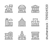 set line icons of buildings... | Shutterstock .eps vector #705024520