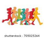 sport running people cutout... | Shutterstock . vector #705025264