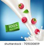 vector ripe  red raspberry... | Shutterstock .eps vector #705030859