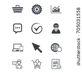 internet  seo icons. tick ... | Shutterstock .eps vector #705031558