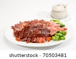 Roast Duck and Barbecued pork mix two in one - stock photo