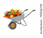 garden trolley with the harvest ... | Shutterstock .eps vector #705036790