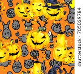 halloween seamless pattern.... | Shutterstock . vector #705039784