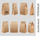 paper bags 3d with cut handles... | Shutterstock .eps vector #705040618