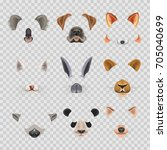 video chat effects animal faces ... | Shutterstock .eps vector #705040699