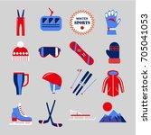 winter sport clothing or... | Shutterstock .eps vector #705041053
