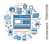 vector blue web browser icon... | Shutterstock .eps vector #705041530