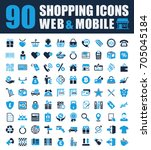shopping icons set | Shutterstock . vector #705045184