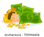 man sleeping with dollar bills  ... | Shutterstock .eps vector #705046606