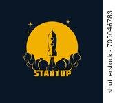 startup banner   rocket with...   Shutterstock .eps vector #705046783