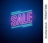 retro sale neon sign. vector... | Shutterstock .eps vector #705047386