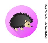 cute flat hedgehog. vector...