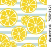 cute yellow lemon slices on... | Shutterstock .eps vector #705049624