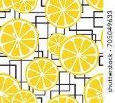 juicy lemons on  crossing lines ... | Shutterstock .eps vector #705049633