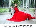 fashion portrait of cute woman... | Shutterstock . vector #705050938