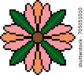 vector pixel art flower isolated | Shutterstock .eps vector #705051010