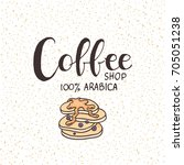 coffee shop lettering logo ... | Shutterstock .eps vector #705051238