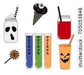 halloween cocktail and ice... | Shutterstock .eps vector #705053848