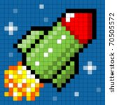 Pixel Rocket in Space - stock vector