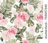 beautiful watercolor seamless... | Shutterstock . vector #705057340