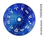 circle with signs of zodiac on... | Shutterstock .eps vector #705058258
