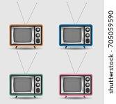 vector set of realistic retro... | Shutterstock .eps vector #705059590