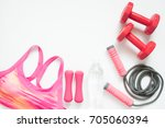 flat lay of sport and workout... | Shutterstock . vector #705060394