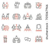 vector set of 16 linear quality ... | Shutterstock .eps vector #705067966