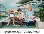 group of 3 funny kids playing... | Shutterstock . vector #705074950