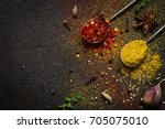 spices food background.... | Shutterstock . vector #705075010