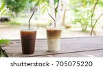 iced latte and americano coffee ... | Shutterstock . vector #705075220