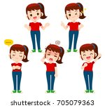 vector set of women  girl... | Shutterstock .eps vector #705079363