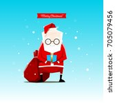 santa claus is holding gift in... | Shutterstock .eps vector #705079456