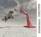 an elephant throws the ball at... | Shutterstock . vector #705079999