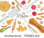 italian pasta set. different... | Shutterstock .eps vector #705081163