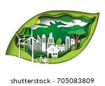 eco green city concept in green ... | Shutterstock .eps vector #705083809