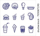 set of vector lined fast food... | Shutterstock .eps vector #705087190