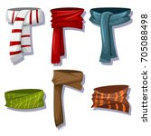 winter scarves and shawls set... | Shutterstock .eps vector #705088498