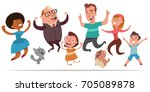 happy people jumping for joy.... | Shutterstock .eps vector #705089878