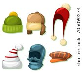 winter hats and caps set for... | Shutterstock .eps vector #705090274