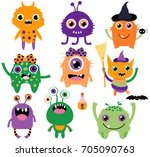 cute  funny and silly vector... | Shutterstock .eps vector #705090763