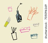 vector picture  plants in pots. ... | Shutterstock .eps vector #705096169