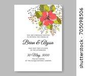 autumn floral wedding... | Shutterstock .eps vector #705098506
