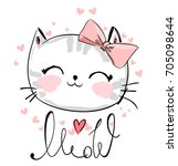cute cat sketch vector... | Shutterstock .eps vector #705098644