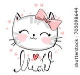Stock vector cute cat sketch vector illustration print design cat children print on t shirt girl illustration 705098644
