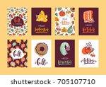 set of autumn hand lettering... | Shutterstock .eps vector #705107710