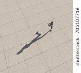 top view of a woman running.... | Shutterstock . vector #705107716