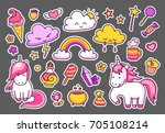 big collection of bright magic... | Shutterstock .eps vector #705108214